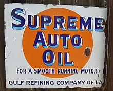 Supreme Motor Oil Porcelain Flange Sign.