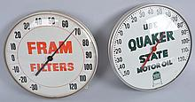 Lot of 2: Quaker State & Fram Thermometers.