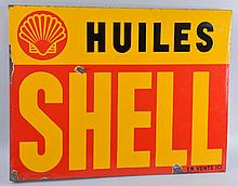 Shell Huiles with Logo Porcelain Flange Sign.