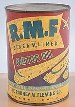 R.M.F. Streamlined Motor Oil One Quart Metal Can.