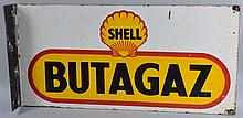 Shell Butagaz Porcelain Flange Sign.