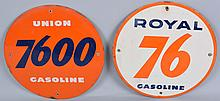 Lot of 2: Union 7600 & Royal 76 Gasoline Signs.