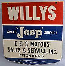 Willys Jeep Sales Service Die Cut Sign.