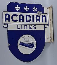 Acadian Lines with Bus Graphics Sign.