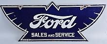 Ford Sales and Service Die Cut Sign.