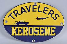 Extremely Rare Travelers Kerosene Oval Sign.