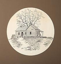 **Etching** Darell Koons - A Rural House & Well