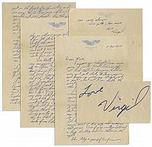 Early Gus Grissom Autograph Letter Signed to His Mother as an Air Force Cadet & Actor in ''Air Cadet'' -- ''...I'll be flying jets at Williams Field before very long...''