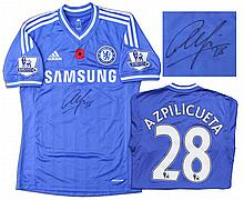Cesar Azpilicueta Match Worn Chelsea Football Shirt Signed