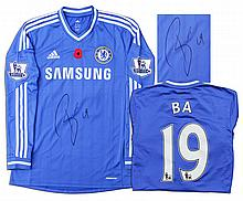 Demba Ba Match Worn Chelsea Football Shirt Signed