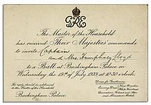King George VI & Queen Elizabeth Invitation to a Ball at Buckingham Palace
