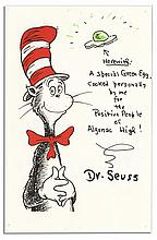Dr. Seuss Original Art Signed -- Depicting His Famous Green Egg From ''Green Eggs and Ham''