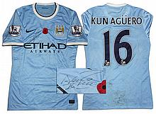 Aguero Match Worn Manchester City Shirt Signed