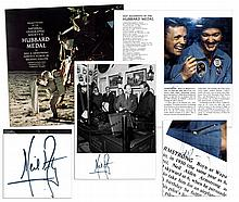 Neil Armstrong Signed Photo & Signed Program From National Geographic's 1970 Hubbard Medal Ceremony -- Fantastic Lot of Two Signatures by the Elusive Astronaut
