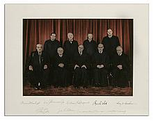 Supreme Court Justices Photo Display Signed by 7 Members of The Rehnquist Court From 1988-1990 -- Measures 20'' x 16''