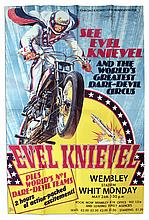 Huge Poster Promoting Evel Knievel at Wembley Stadium 26 May 1975 -- The Show That Broke His Pelvis & Nearly Took His Life -- Oversized Poster Measures 3.5' x 5'