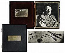Scarce Hitler Signed Photo -- Photo Taken by Heinrich Hoffmann Is Encapsulated in a Case Belonging to German Aviator Nazi Flugkapitan Hanna Reitsch
