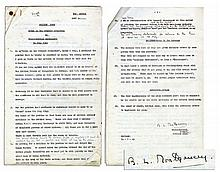 ''Top Secret'' Draft Signed by Bernard Montgomery in July 1945 -- With Numerous Hand-Edits by Montgomery Such as ''allow conversation with adult Germans in the streets and in public places''