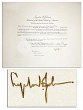 Lyndon B. Johnson 24.5'' x 20.5'' Document Signed as President in 1964 -- With PSA/DNA COA