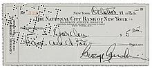George Gershwin Personal Check Signed