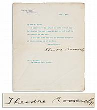 Theodore Roosevelt Typed Letter Signed as President -- To Yellowstone National Park Warden Buffalo Jones -- ''...I am very sorry to learn of the death of those wild buffalo...''