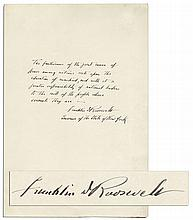 Franklin D. Roosevelt Autograph Quote Signed on Democracy -- ''...a greater responsibility of national leaders to the will of the people whose servants they are...''