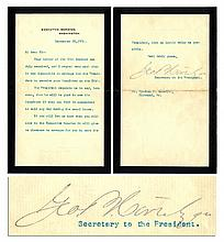Letter by Presidential Secretary George Bruce Cortelyou Following McKinley's Assassination -- ''...it will give me pleasure to arrange for you to meet the President...''