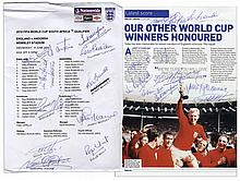 World Cup Program Signed by 18 Former Members of the English National Football Club