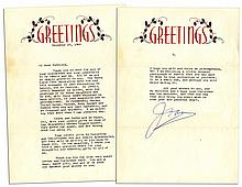 Joan Crawford Typed Letter Signed on Holiday Stationery -- ''...dear, sweet girl...I hope you will not think me presumptuous, but I am enclosing a little colored photograph of myself...''