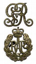 Two Royal British Commemorative Badges -- King George V Cypher & Royal Air Force Badge