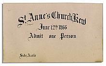 Princess Mary Adelaide of Cambridge & Prince Francis Duke of Teck 1866 Wedding Ceremony Ticket