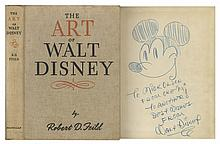 Walt Disney Signed Drawing of Mickey Mouse -- Sketched Within a First Edition Copy of ''The Art of Walt Disney'' -- An Exceptionally Rare Disney Piece