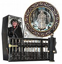 Ray Bradbury Owned Lot of Collectibles -- Heinrich Snow Maiden 8'' Plate, Wooden Abacus, Wooden Abe Lincoln Doll & Vampire Doll Inside a 6.5'' x 14'' x 3.5'' Coffin -- With COA From Estate