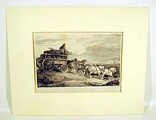 Theodore Gericault THE COAL WAGON 1821 Antique Lithograph French Art