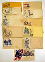 11 Pc. Antique Original Civil War 1861 UNION ENVELOPES Unused Postal Covers United States Federals Philately American Eagle Confederate Rebel Caricatures Cartoons Robert Anderson Jeff Davis Winfield Scott