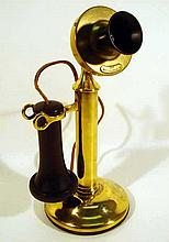 Antique Original BRASS CANDLESTICK TELEPHONE Western Electric 1913 Patent