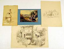4 Pc. Antique 19th C. GRAPHITE DRAWINGS, HAND-COLORED PRINT Landscapes Portrait