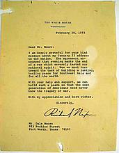 Vintage 1973 RICHARD NIXON SIGNED LETTER Presidential Autograph Vietnam War State of the Union Address Dale Moore Fort Worth TX