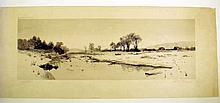Edith Penman JANUARY THAW 1889 Original Etching After Painting By Julian Rix Signed By Rix & Penman Winter Landscape New Paltz New York