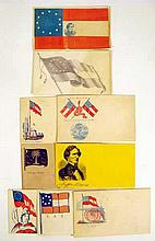 9 Pc. Antique Original Civil War CONFEDERATE STATES OF AMERICA ENVELOPES Unused Postal Covers Rebel CSA Philately Jefferson Davis Stars & Bars Death Before Dishonor Don't Tread On Us
