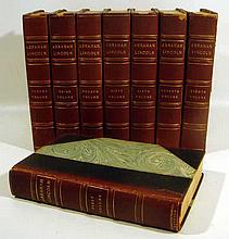8V THE WRITINGS OF ABRAHAM LINCOLN 1905-1906 Antique US History 16th American President Civil War Portraits Decorative Leather