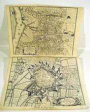2 Pc. Antique Original ENGRAVED 18th CENTURY MAPS Battles War of Spanish Succession Bethune Eckeren French Dutch Battlefields M. Rapin History of England I. Basire Engraver
