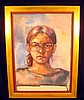 Natalia Goncharova ORIGINAL WATERCOLOR c1940 Untitled Portrait Of Young Woman In Gilt Frame Russian Art, Natalia Goncharova, $10