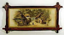 Antique Victorian Chromolithograph COTTAGE PRINT Framed Yuengling Porter Beer Advertising Breweriana 19th Century English Thatched Roof
