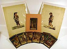 9 Pc. Antique HAND-TINTED ETCHINGS 18th C. Dutch German Ludwig Buchhorn Illustrations Selinde Philinde The Beggar Good Advice