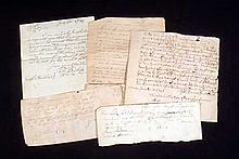 5 Pc. Antique 18th CENTURY DOCUMENTS Letters IOUs Danvers MA Warren RI Stonington CT Colonial America Genealogy