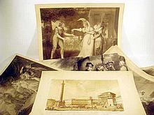 6 Pc. Antique LARGE-FORMAT ENGRAVINGS Shakespeare Comedies François-Joseph Bélanger Paris Theatre Triumphal Column English Civil War