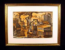 John Saccaro WATERFRONT SAN FRANCISCO 1939 Signed & Dated Lithograph Framed WPA-Era Modernist Print American Art