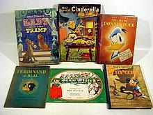 6V Vintage WALT DISNEY CHILDREN'S BOOKS Snow White Sheet Music Life of Donald Duck Pinocchio Cinderella Pop-Up Ferdinand the Bull