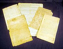 5 Pc. Antique Ephemera COLONIAL NEW ENGLAND DOCUMENTS Plymouth Bay Colony 1722-1799 John Brown Joseph Ichabod Paddock Samuel Remington Coventry RI Providence Plantation 18th Century America Genealogy